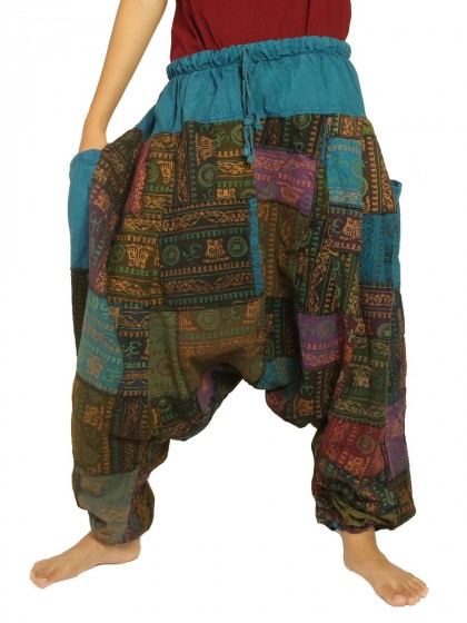 กางเกงอลาดิน ผ้าต่อลายโอม*สีตามแบบ