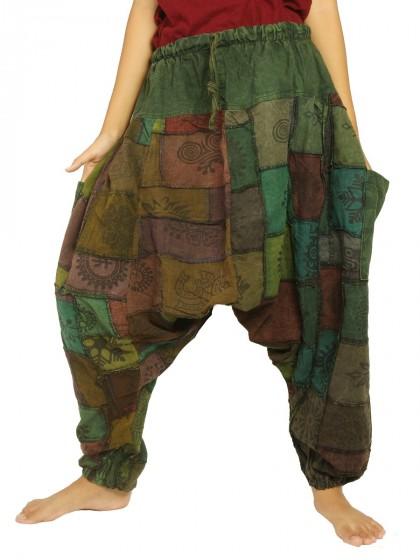 กางเกงอลาดิน ผ้าต่อหลากสี