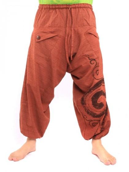 กางเกงฮาเร็ม พิมพ์ด้วยเกลียว ผ้าฝ้าย * สีส้ม