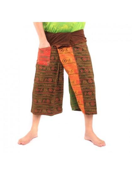 กางเกงเล ขาสั้น*ลายโอม*ผ้าฟอกหลากสี