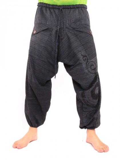 กางเกงฮาเร็ม พิมพ์ด้วยเกลียว ผ้าฝ้าย * สีดำ
