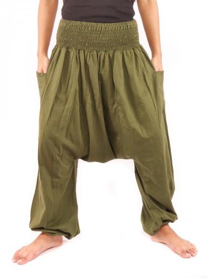 กางเกงฮาเร็ม เอวสม็อค สีเขียว