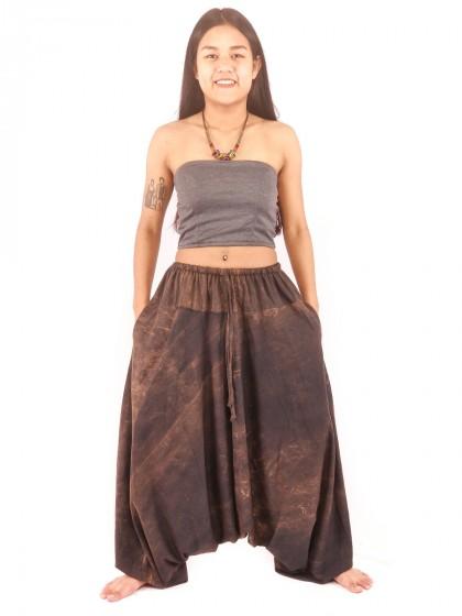กางเกงฮาเร็ม กางเกงอลาดิน กางเกงเป้ายาน ผ้าสโตนวอช สีเทาเข้ม