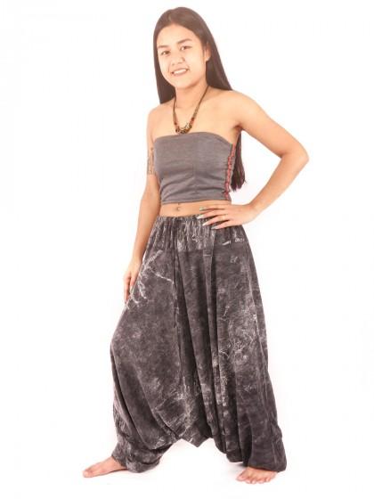 กางเกงฮาเร็ม กางเกงอลาดิน กางเกงเป้ายาน ผ้าสโตนวอช สีดำ