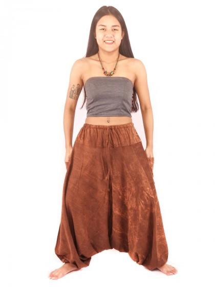 กางเกงฮาเร็ม กางเกงอลาดิน กางเกงเป้ายาน ผ้าสโตนวอช สีน้ำตาล