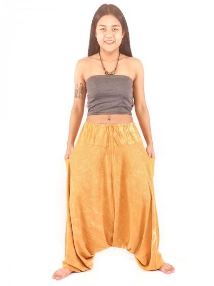 กางเกงฮาเร็ม กางเกงอลาดิน กางเกงเป้ายาน ผ้าสโตนวอช สีไข่ไก่
