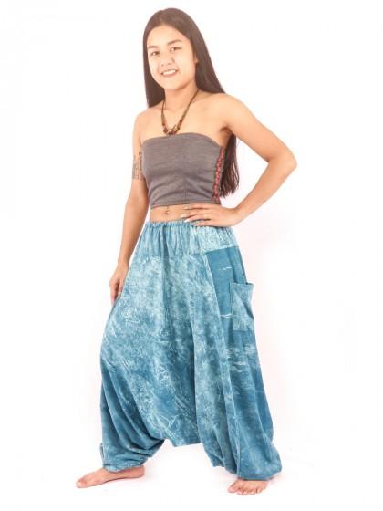 กางเกงฮาเร็ม กางเกงอลาดิน กางเกงเป้ายาน ผ้าสโตนวอช สีฟ้าคราม