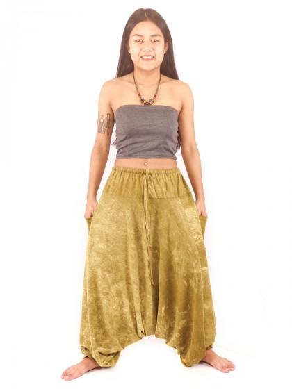 กางเกงฮาเร็ม กางเกงอลาดิน กางเกงเป้ายาน ผ้าสโตนวอช สีเขียวขี้ม้า
