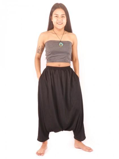 กางเกงฮาเร็ม กางเกงเอวสม็อค สีดำ
