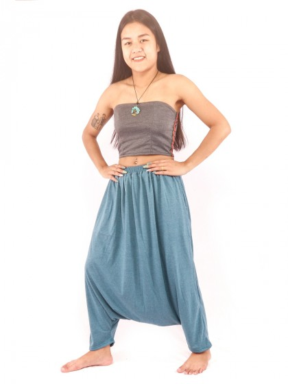 กางเกงฮาเร็ม เอวสม็อค สีฟ้าคราม