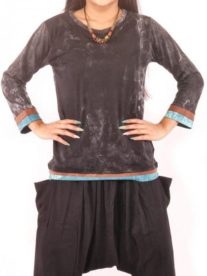 เสื้อแขนยาว ผ้าสโตนวอช สวมใส่สบาย ผ้านิ่ม สีดำ