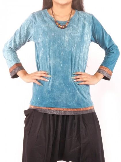 เสื้อแขนยาว ผ้าสโตนวอช สวมใส่สบาย ผ้านิ่ม สีฟ้าคราม