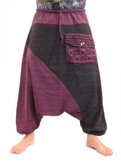 กางเกงฮาเร็ม ลายช้างมีกระเป๋าข้าง * สีมังคุด  สีดำ
