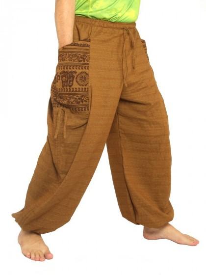 กางเกงฮาเร็ม พิมพ์โอม * สีกากี