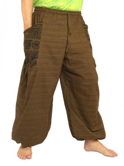 กางเกงฮาเร็ม พิมพ์โอม * สีน้ำตาลเข้ม