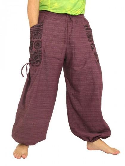 กางเกงฮาเร็ม พิมพ์โอม * สีมังคุด