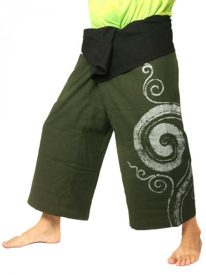 กางเกงเล * ต่อสองสีลายวน สีตาลขอบดำ