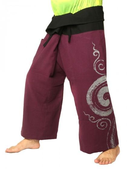 กางเกงเล * ต่อสองสีลายวนกลม สีขี้ม้าขอบดำ