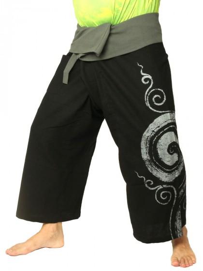 กางเกงเล * ต่อสองสีลายวนกลม สีมังคุดขอบดำ