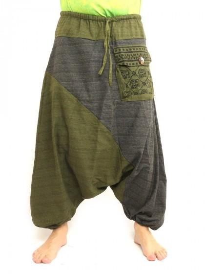 กางเกงฮาเร็ม ลายช้างมีกระเป๋าข้าง * สีเขียวขี้ม้า  สีดำ