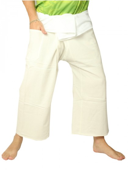 กางเกงเล * ต่อสองสี สีขาวขอบครีม