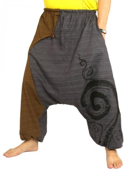 กางเกงฮาเร็ม พิมพ์ด้วยเกลียวผ้าฝ้ายสำหรับสุภาพบุรุษและสุภาพสตรี * สีกากี สีดำ